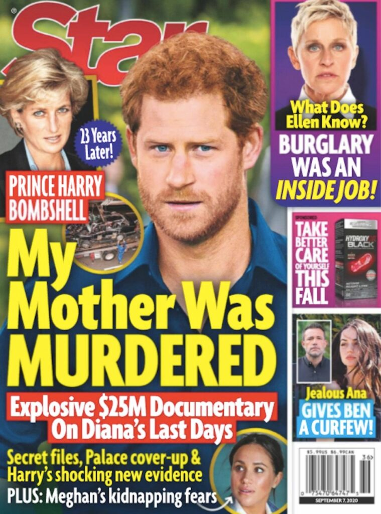cover of Star magazine with Prince Harry and text saying My Mother Was MURDERED
