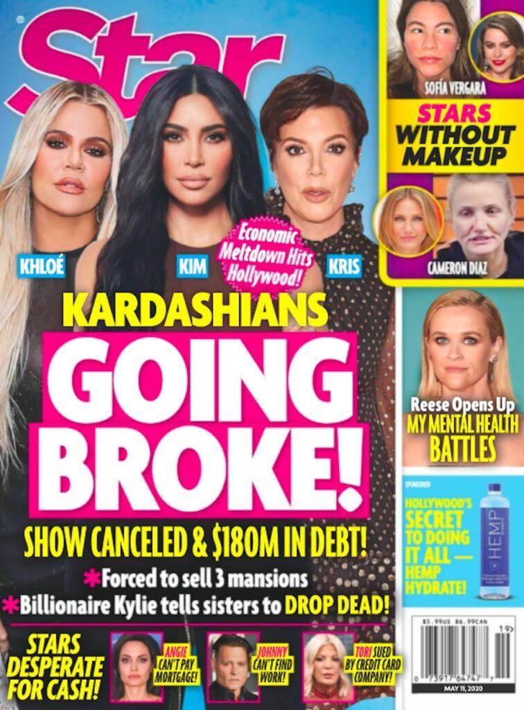 cover of Star magazine with photos of Kris Jenner, Kim Kardashian, and Khloe Kardashian with text ov