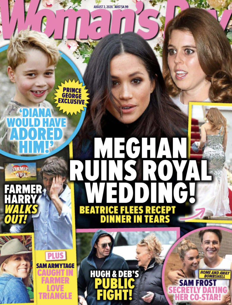 """Cover of the August 3 Woman's Day with the headline """"Meghan Ruins Royal Wedding!"""" with a photo of Meghan Markle."""