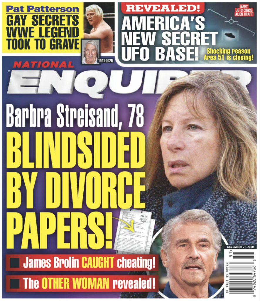 """Cover of the National Enquirer, December 21st, 2020 with a photo of Barbra Steisand and the headline """"Blindsided by divorce papers!"""""""