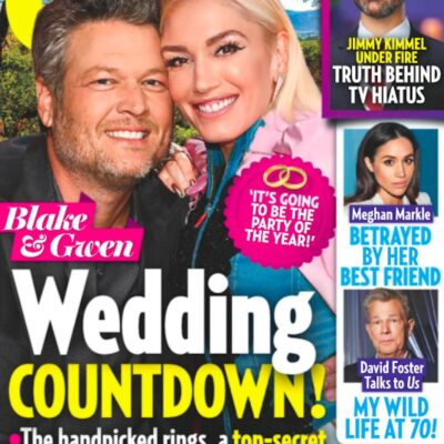 Cover of Us Weekly with Gwen Stefani and Blake Shelton smiling and text saying Wedding Countdown!