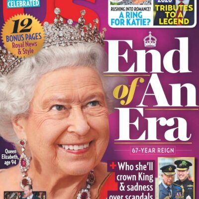 cover of Us Weekly with Queen Elizabeth smiling and text saying End of an Era