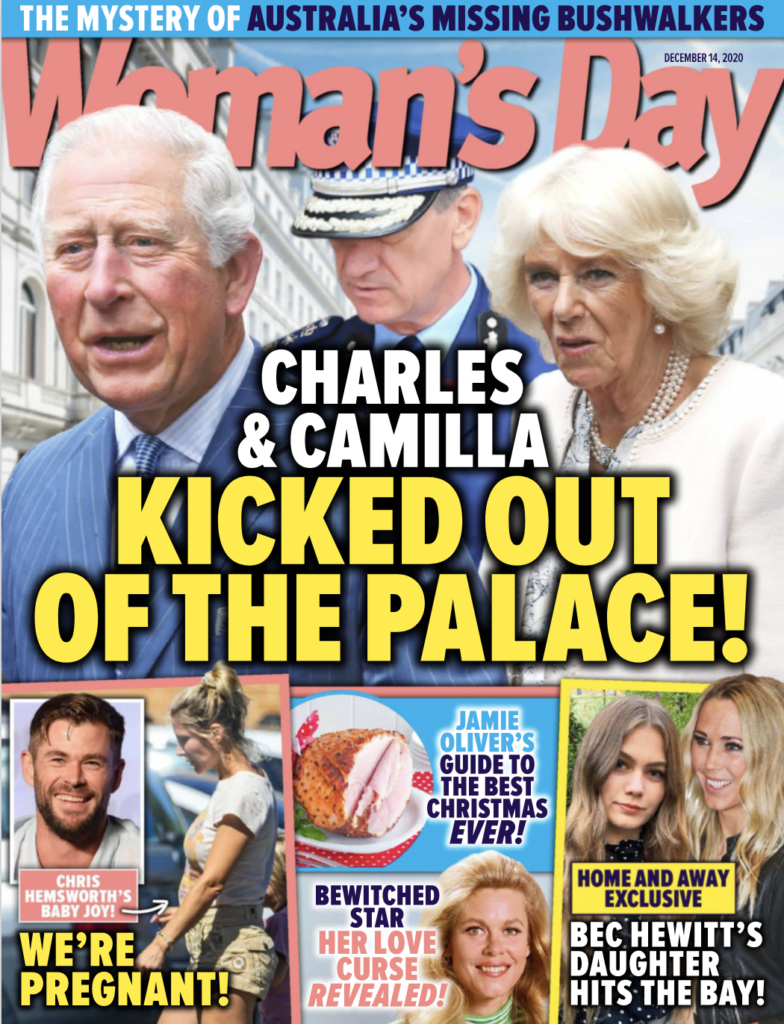 Cover of Woman's Day. December 14th, 2020. Prince Charles and Camilla Parker Bowles on the cover.