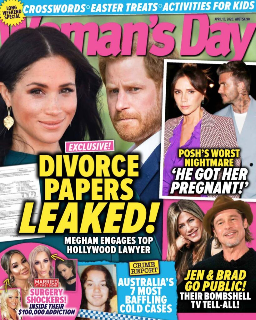 Cover of Woman's Day featuring a large photo of Meghan Markle and Prince Harry