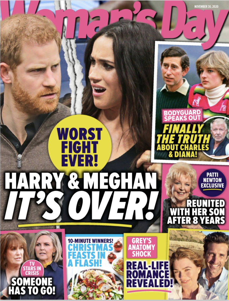 Cover of Woman's Day magazine with Meghan Markle and Prince Harry on it.