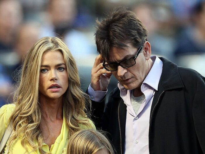 Denise Richards and Charlie Sheen look for their seats as the New York Yankees take on the New York