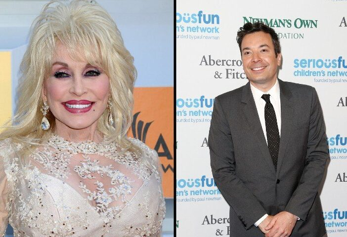 Dolly Parton side by side with Jimmy Fallon