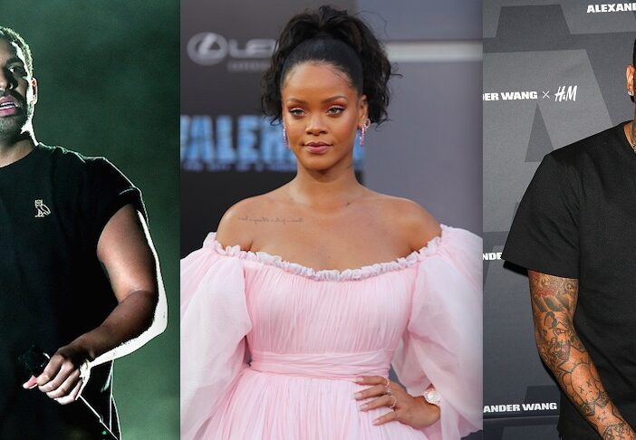 Drake Chris Brown Creeping Rihanna Crop Over Photo
