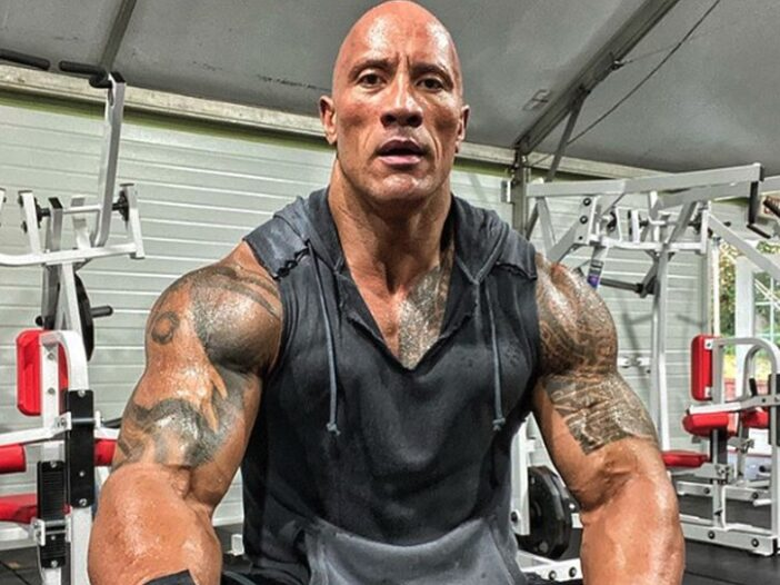 Dwayne Johnson, aka The Rock, in the gym after a workout
