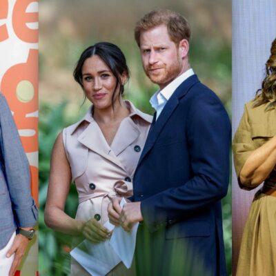 Side by side shots of Ellen DeGeneres, Meghan Markle and Prince Harry, and Oprah