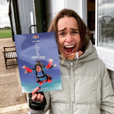 Emilia Clarke getting ready to go skydiving
