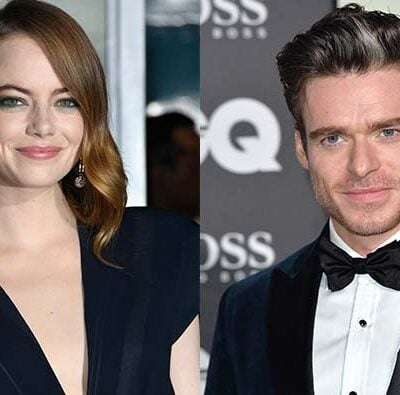 Emma Stone in a lack top next to a photo of Richard Madden in a tuxedo