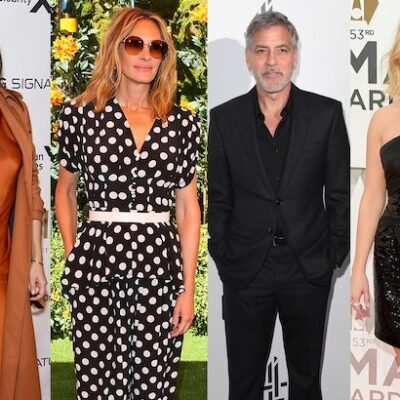 four side by side photos, left to right, Katie Holmes, Julia Roberts, George Clooney, and Reese With