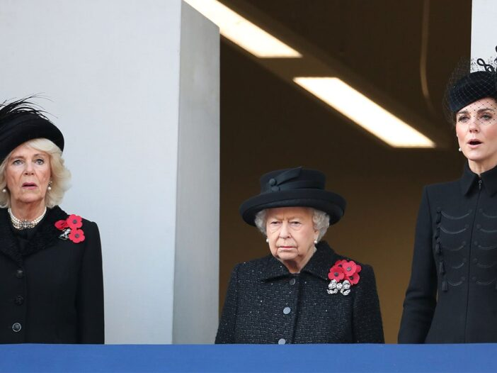 From left to right, Camilla Parker Bowles, Queen Elizabeth II, and Kate Middleton, all wearing black