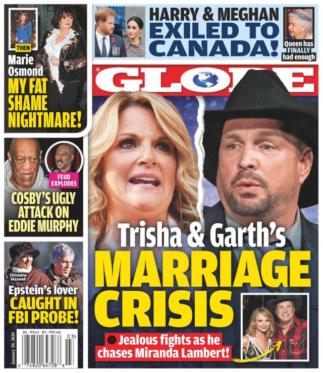 Garth Brooks and Trisha Yearwood on the cover of the Globe in a story about a marriage crisis over M
