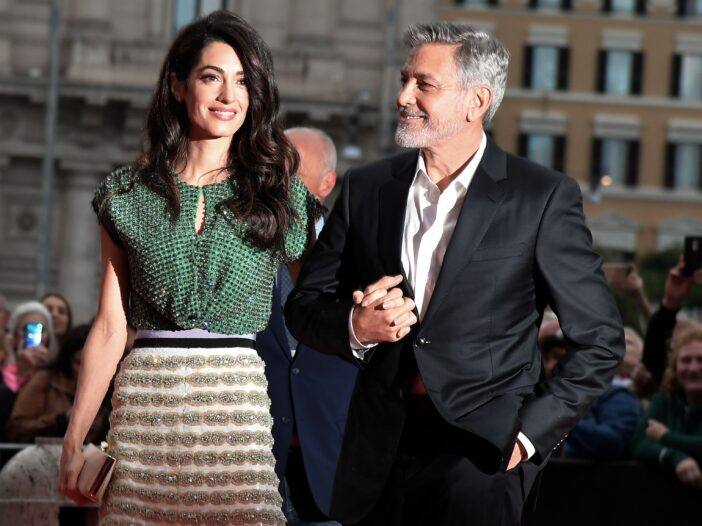 """George Clooney and Amal Clooney arrive to the premiere of """"Catch-22"""" in Rome"""