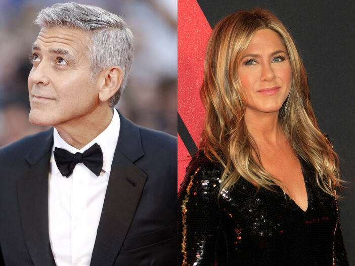 George Clooney and Jennifer Aniston in separate side-by-side photos