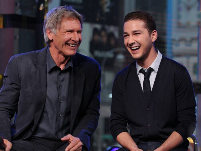 Harrison Ford and Shia LaBeouf appear onstage during MTV's Total Request Live at the MTV Times Squar