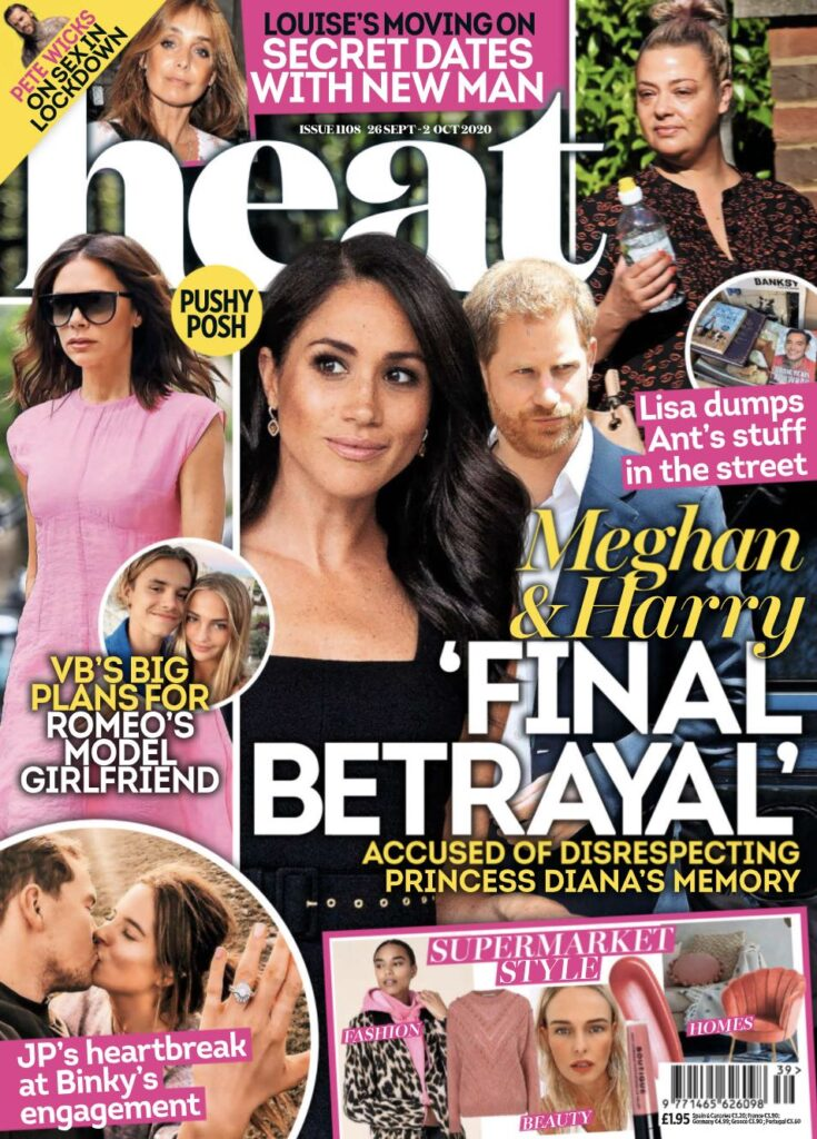 Heat cover with text saying Meghan & Harry Final Betrayal with photos of Meghan Markle, Prince Harry