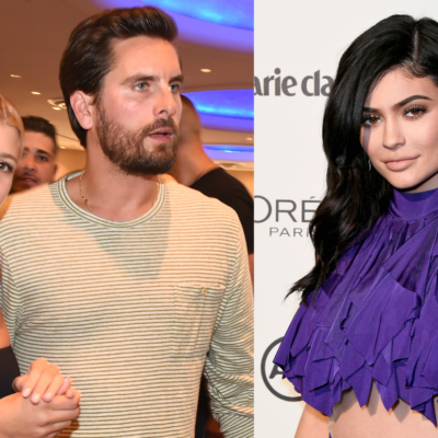 Image on the left depicts Sofia Richie, wearing a black top, walking with Scott Disick. Right Image