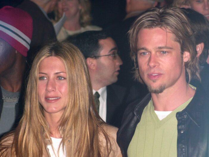 "Jennifer Aniston and Brad Pitt in 2000 at ""Erin Brockovich"" premiere"