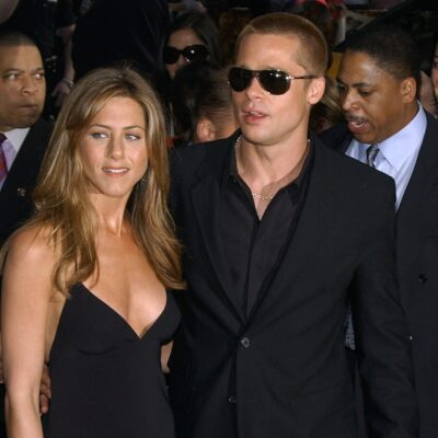 Jennifer Aniston on the left with Brad Pitt at a red carpet event in 2004.