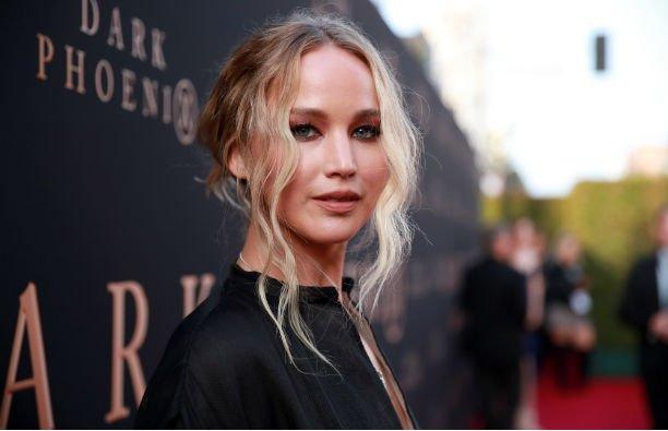 Jennifer Lawrence in a black dress at the Dark Phoenix red carpet