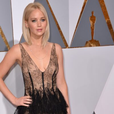 Jennifer Lawrence in a lacy black dress at the Academy Awards in 2018.