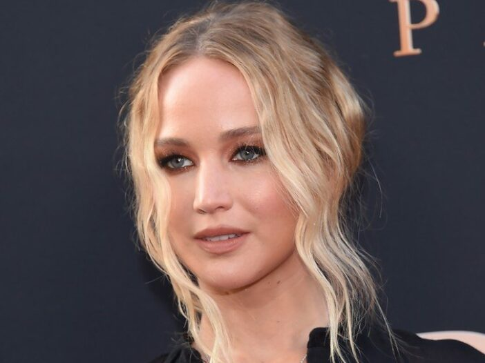 Jennifer Lawrence wearing a black dress at the premiere of Dark Phoenix in Hollywood