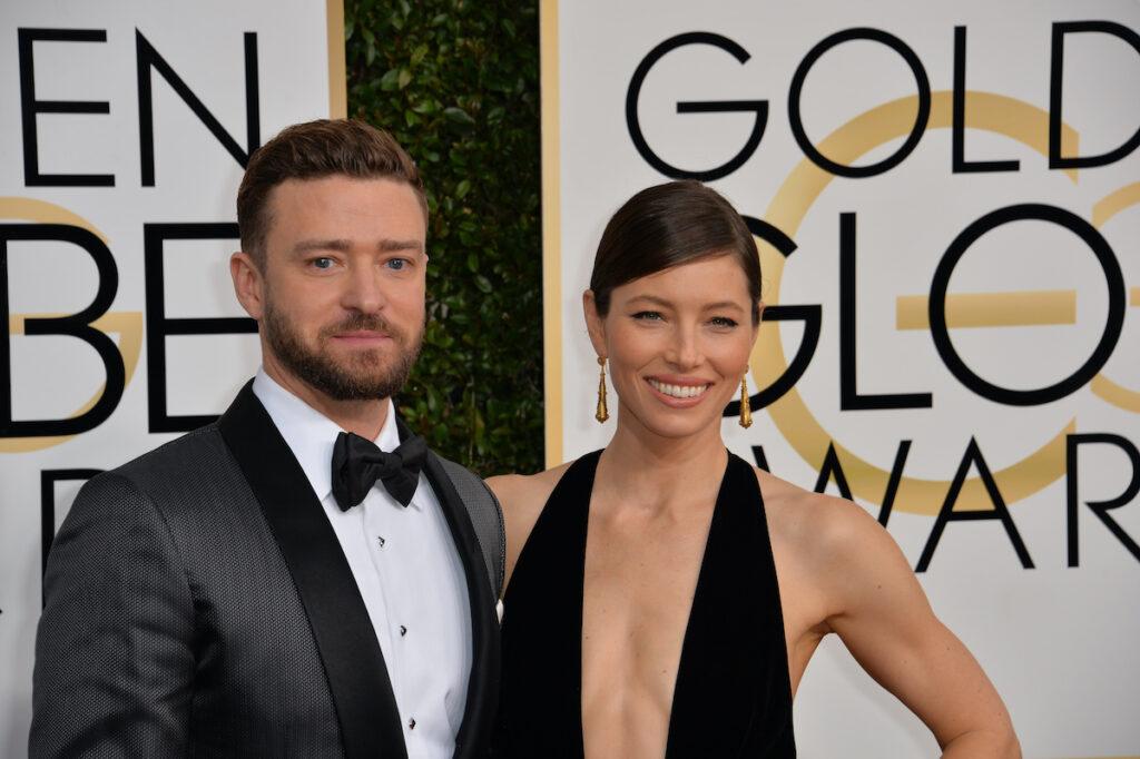 Jessica Biel in a black dress with husband Justin Timberlake in a tuxedo