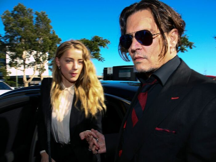 Johnny Depp and his wife Amber Heard arrive at a court in the Gold Coast
