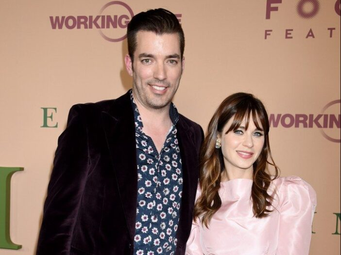 Jonathan Scott and Zooey Deschanel together at a movie premiere.