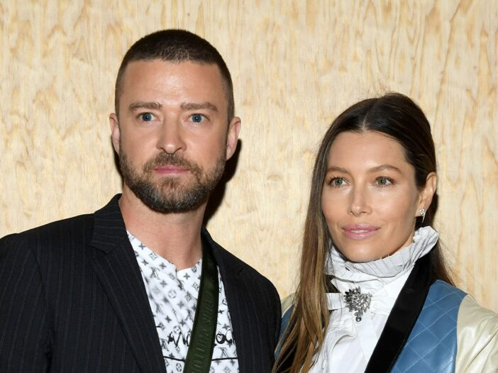 Justin Timberlake and Jessica Biel together at a red carpet event.