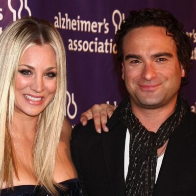 Kaley Cuoco on the left, standing with Johnny Galecki when they were dating.
