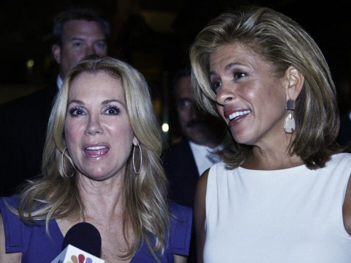 Kathie Lee Gifford and Hoda Kotb giving an interview during Fashion Week in New York City