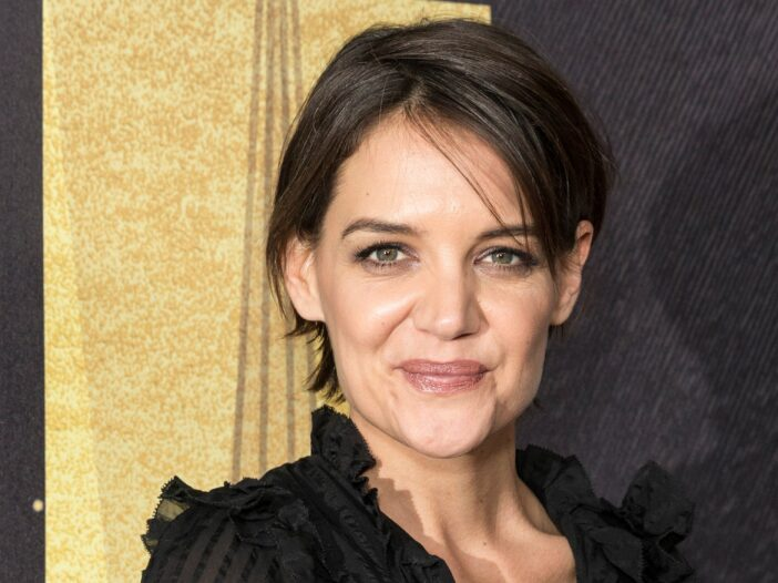 Katie Holmes wears a black semi-transparent to a Grammys event