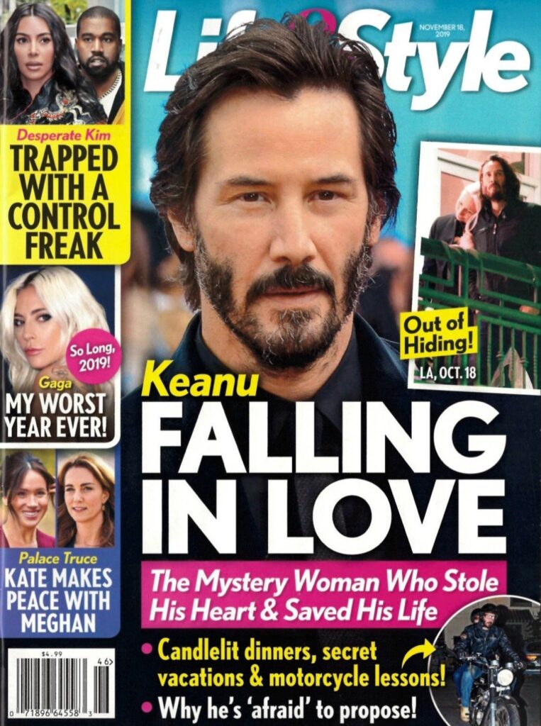 Keanu Reeves Life & Style cover story about falling in love with Alexandra Grant