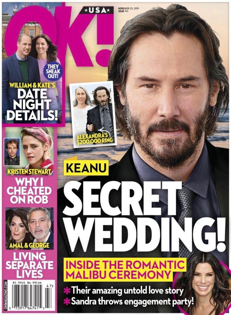 Keanu Reeves OK! cover story about a secret wedding