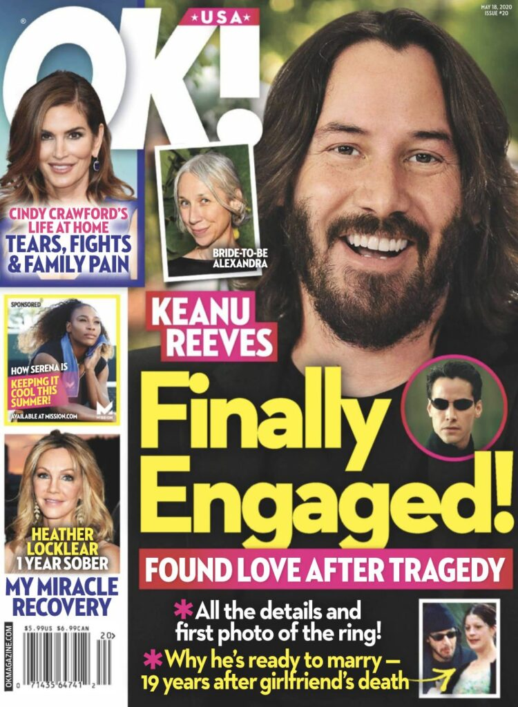 Keanu Reeves smiling on the cover of OK! Magazine