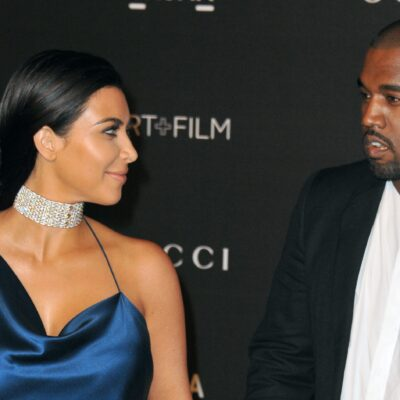 Kim Kardashian in the left, Kanye West on the right.