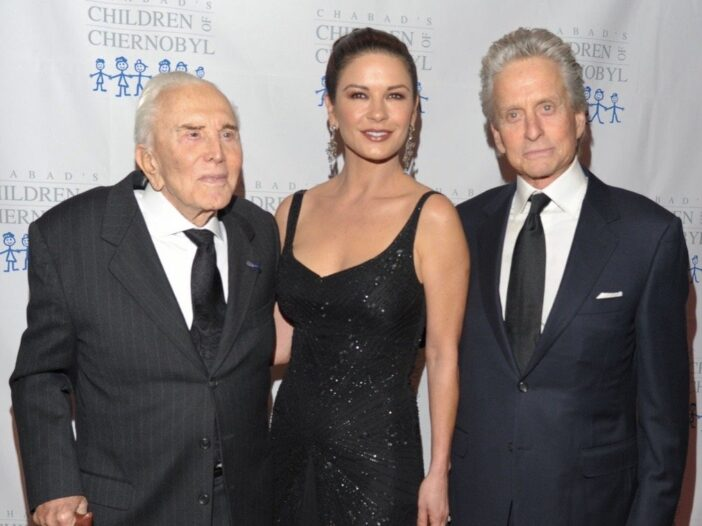 Kirk Douglas, Catherine Zeta-Jones and Michael Douglas attend the 2011 Children of Chernobyl's Child