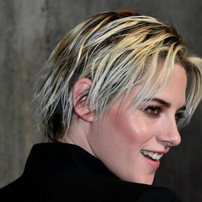 Kristen Stewart looking over her shoulder