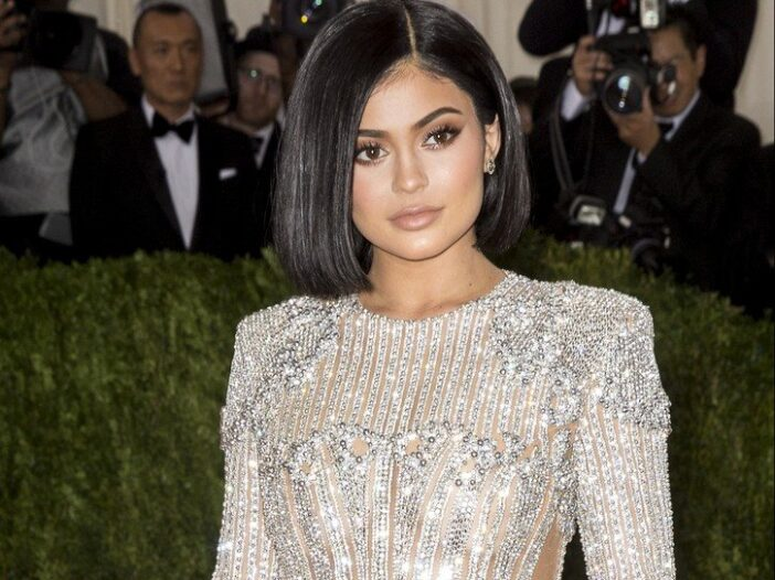 Kylie Jenner in a sparkly dress.