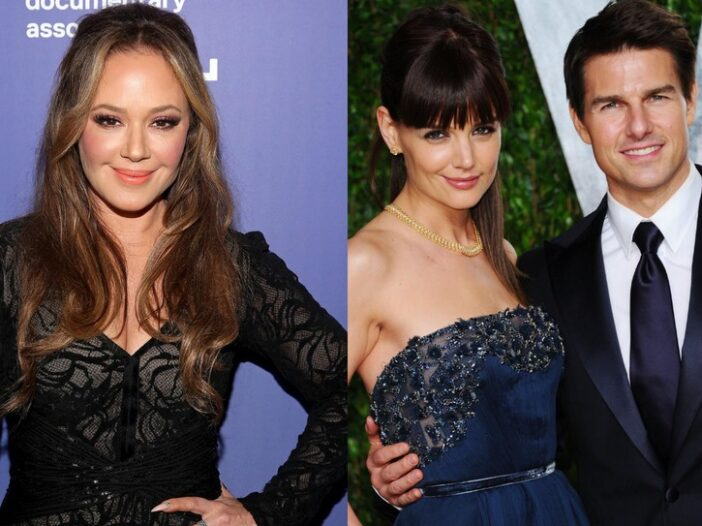 (Left) Leah Remini in black on the red carpet. (Right) Tom Cruise and Katie Holmes on the red carpet