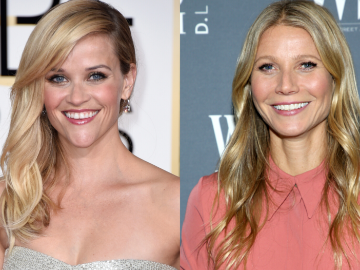 (Left) Reese Withersppon in a silver dress on the red carpet. (Right) Gwyneth Paltrow in a pink blou