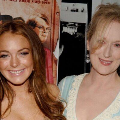 Lindsay Lohan and Meryl Streep at a movie premiere