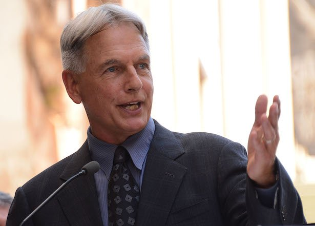 Mark Harmon in a grey and blue suit speaks into a mic on a light background