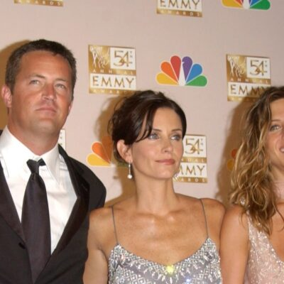 Matthew Perry, Courteney Cox, and Jennifer Aniston at the Emmy Awards.