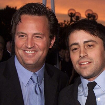 Matthew Perry on the left and Matt LeBlanc on the right in their Friends Days