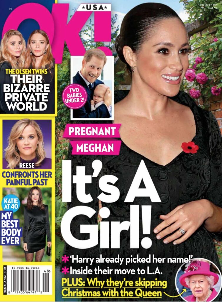 The cover of the December 2nd OK! magazine with Meghan Markle on the cover